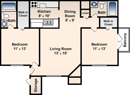 2 Bed / 2 Bath / 917 sq ft / Deposit: $300 / Rent: $765