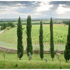 Image showing the view from a modernised tuscan restored luxurious farm house with long views over vineyards and valleys out to the appenine mountains
