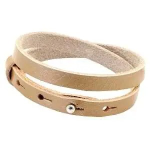 Leren armband Ava met zeeuwse knop in taupe