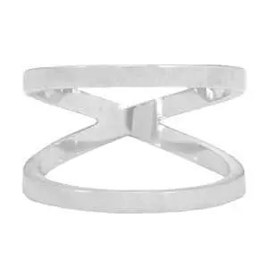 Stainless steel double ring 16mm Zilver