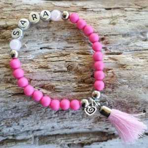 Kinderarmband Amber roze