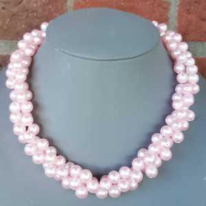 Ketting Aretha van roze glasparels