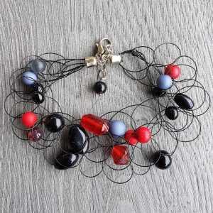 Armband Kaylee Zwart / Rood