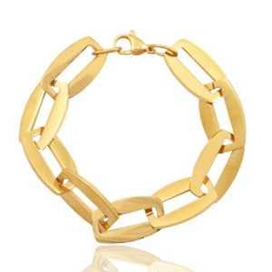 Roestvrij stalen (RVS) Stainless steel schakel armbanden goud