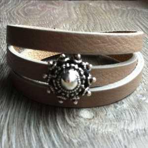 Leren armband Ava met zeeuwse knop 3 dubbel