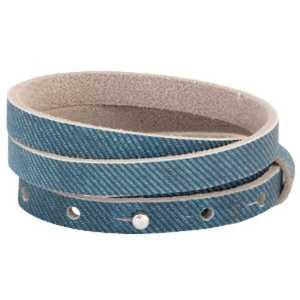 Leren armband Ava met zeeuwse knop 3 dubbel Denim blue