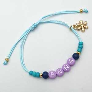 Ibiza armband met naam aqua met bloem