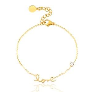 Roestvrij stalen (RVS) Stainless steel armbanden LOVE goud