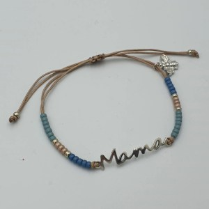 Armband mama in beige blauw