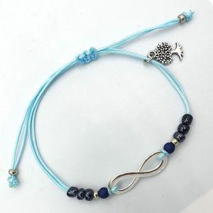 Infinty armbandje aqua donkerblauw