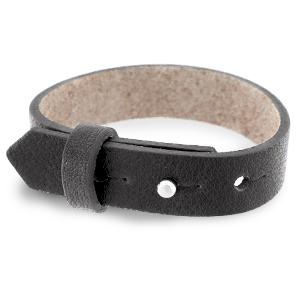 Leren heren armband 15mm Dark anthracite