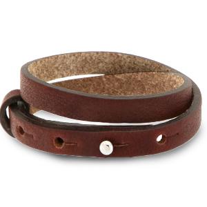 Verstelbare dubbele heren armband 8mm Burgundy brown