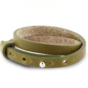 Verstelbare dubbele heren armband 8mm Olive green