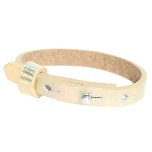 Verstelbare armband leer kids 8mm Holographic champagne