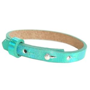 Verstelbare armband leer kids 8mm Holographic green