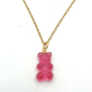 Stainless Steel Initiaal Ketting gummi bear Pink