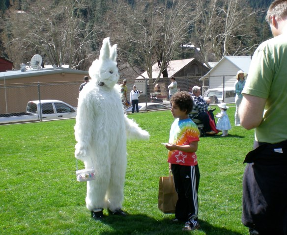 Ty asks Easter Bunny just where he might find a Golden Eg