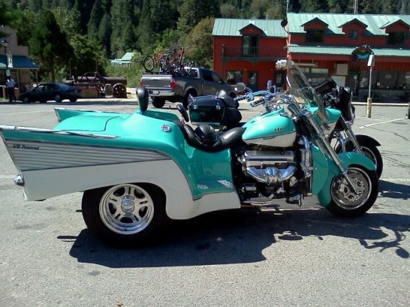 Cherry Simi spots a 57' Harley in the Visitor Center Lot