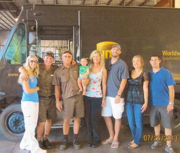 Sean Lenz and family. daughter-in-law Lisa, his son Mike the UPS driver, Sean, grandson Barrett, wife Julie, son Seth and daughter Hannah and her boyfriend Mike.