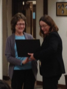 Lynn Fillo receives recognition and gift from Downieville Lions' President Mary Ervin