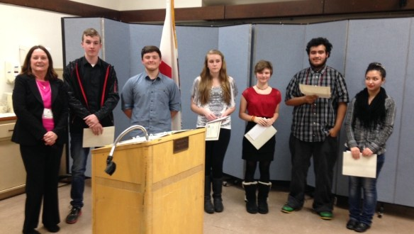 Downieville Lion's President Mary Ervin, Speaker Contest winner Tommy Dines, Matt Lozano, Kaylon Hall, Karlee Bollee and Antonio Nevarez