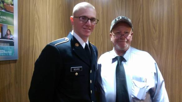 County Supervisor Jim Beard with new U.S. Army Private Zam Beard