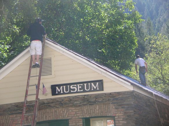 Kiafis Knoeffler and Steiner Knoeffler prefer the roof of the Downieville Museum for new paint.
