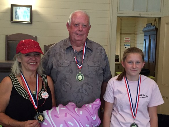 Winners of the Native Daughter's 2016 Ice Cream Social voting, from left to right, are Debbie Glascow, Mike Galan, and Sierra Folsom. Debbie and Sierra tied for 2nd place with their delicious entries - Orange Chocolate Swirl and Pearl Street Blackberry. Once again, Mike was the 1st place winner with his Tripple Chocolate Carmel Double Cream Crunch!