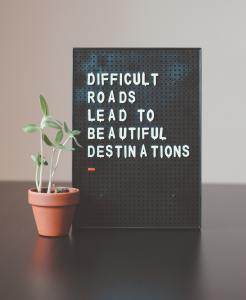 Therapy Office Potted Plant Next To Black sign saying Difficult Roads Lead to Beautiful Destinations