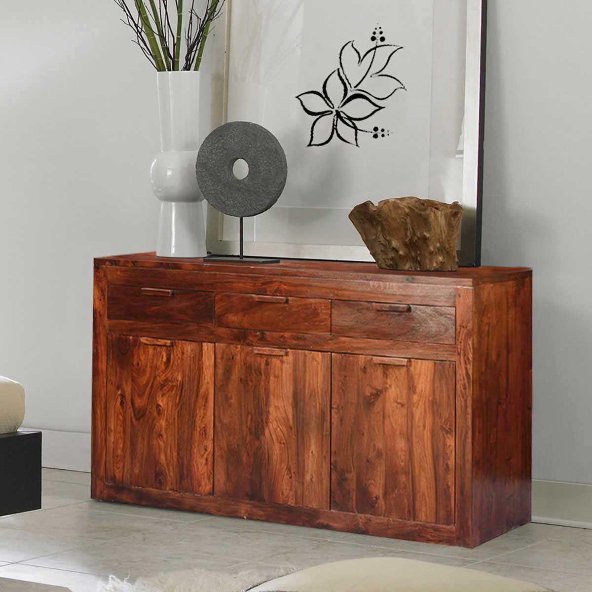 Modern Simplicity Solid Wood Amp Acacia 63 Sideboard Cabinet