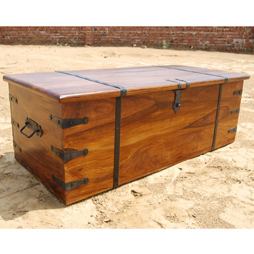 Large Solid Wood Storage Box Trunk Chest Coffee Table W