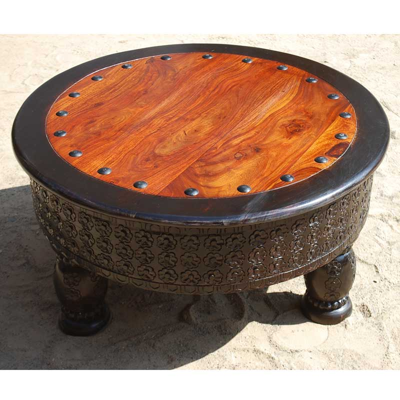 Solid Wood Hand Carved Round Coffee Table Living Room