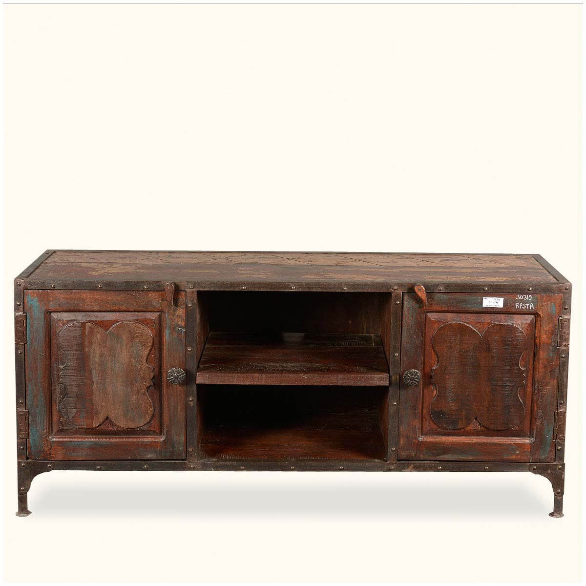 Rustic Industrial Reclaimed Wood Amp Iron TV Stand Media Console