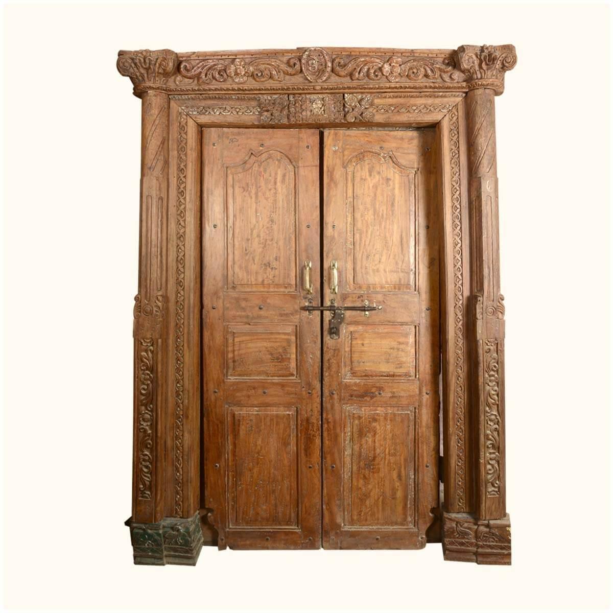 Elizabethan Hand Carved Solid Teak Double Doors Amp Casing Frame