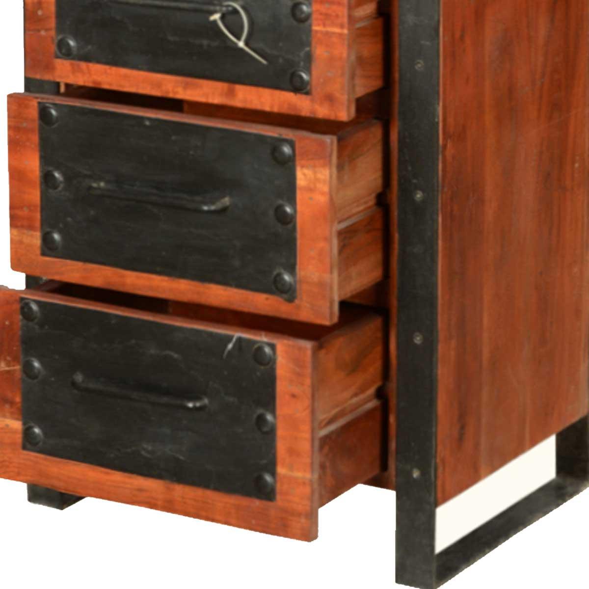 Nottingham Modern Mango Wood Amp Iron 3 Drawer 3 Shelf Tower