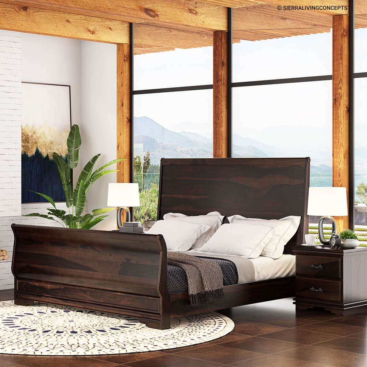 Sleigh Back California King Size Platform Bed Frame
