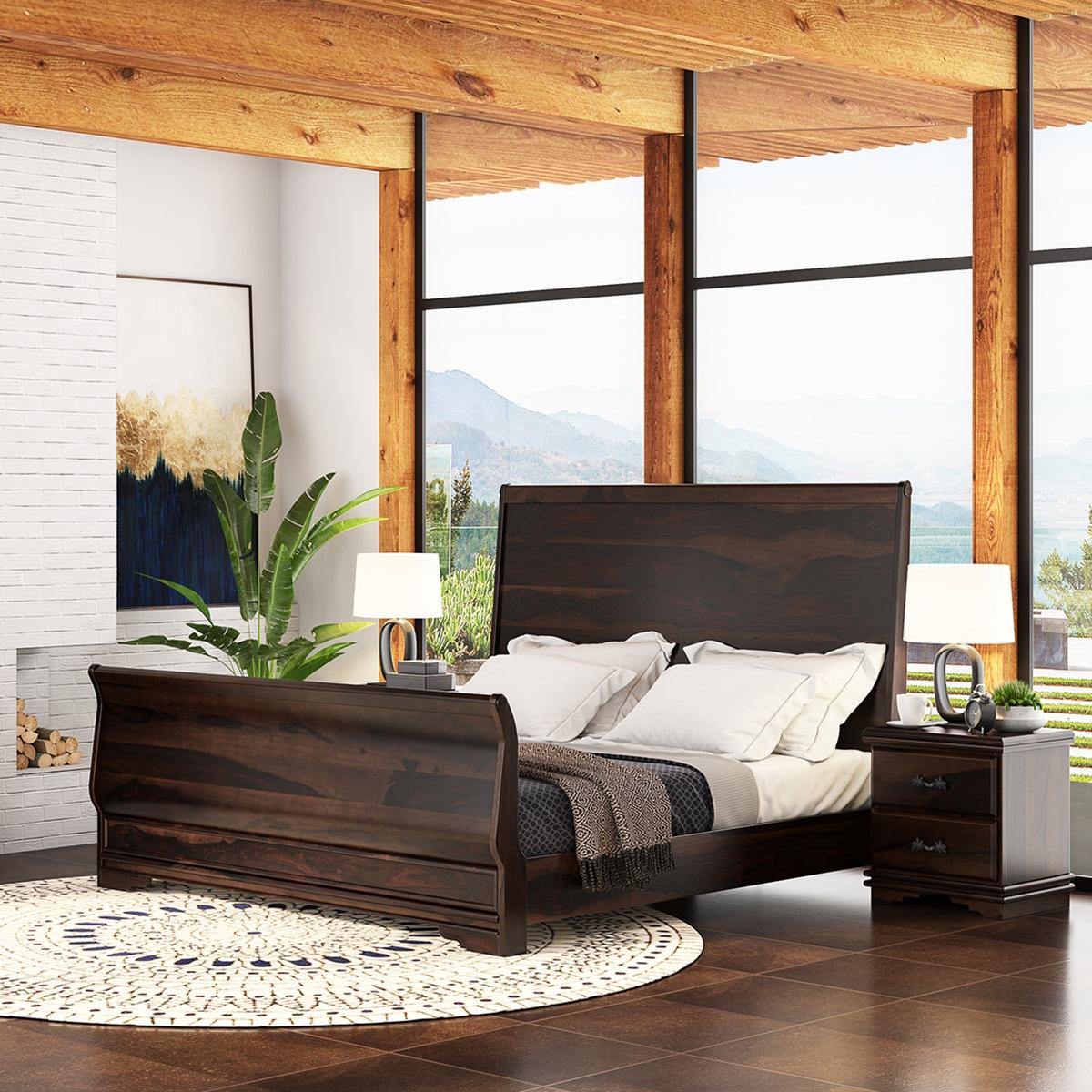 Sleigh Back California King Size Platform Bed Frame