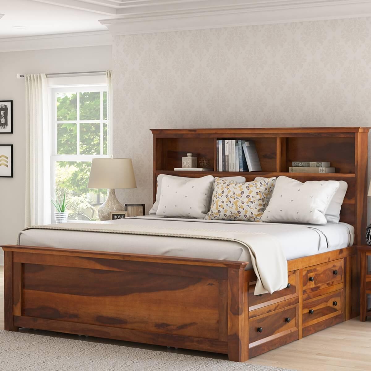 Mission Modern Solid Wood King Size Platform Storage Bed