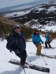 Skiing with Mono Lake.