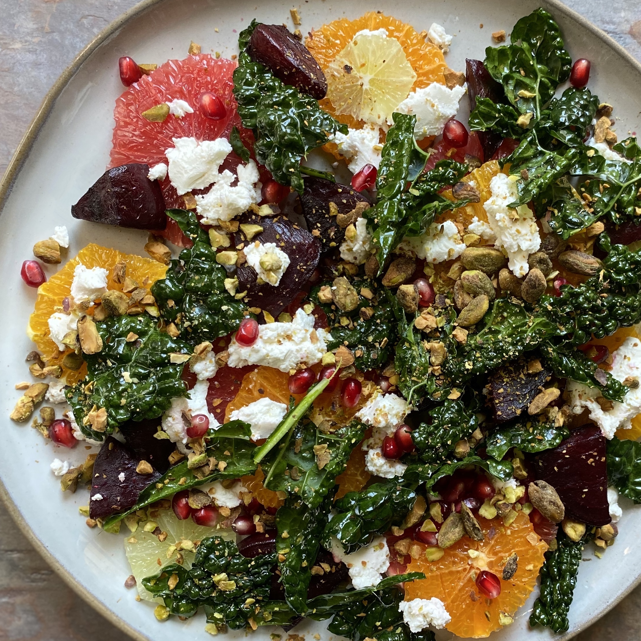 Citrus and beet salad with chevre