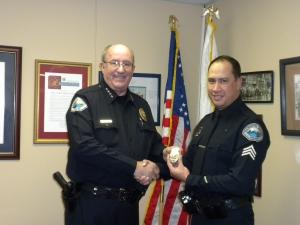 Chief Dan Watson and newly promoted Sergeant Rick Moberly.