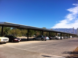 Elevated solar array at the Inyo County Jail