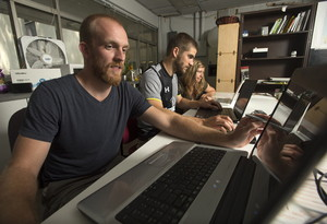 Cal Poly students worked on Aqueduct Futures o- Eric Haley, Devon Santy and Tiernan Doyle.