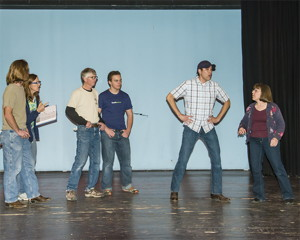 Working on a song and moves from the upcoming Playhouse 395 show Oklahoma! are, left to right, Ryan Tetz (Fred), Karen Keene (Assistant Director), Dennis Wagner (Jess), Liam Means (Sam), Ron Valenzuela (Will Parker) and Susan Kunze (Aunt Eller).  Photo by Bob Rice