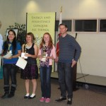 Dr. McAteer and Mr. Rasmuson (left to right): Jeniffer Velazquez (3rd place, Home Street), Grace Griego (2nd Place, Round Valley) and Arianna Pope (1st place, Home Street).