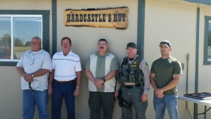 left – right, Undersheriff Keith Hardcastle, Sheriff Bill Lutze, Former SAR Coordinator Terry Waterbury, Assistant SAR Coordinator Deputy Brian Hohenstein, SAR Coordinator Deputy Nate Derr.