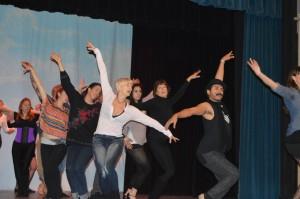 Rehearsing a dance number with choreographers Gigi deJong and Jose Pizana