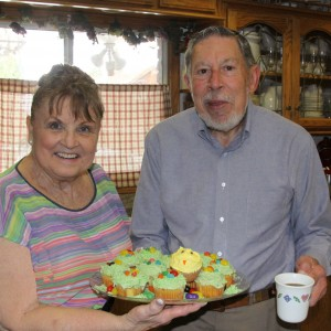 Kay O'Brien and Dr. Leo Pisculli serving treats to folks helping assembly Easter packages Photos courtesy of Ed Nahin