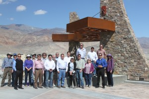 Group shot at the Owens Lake Trail centerpiece