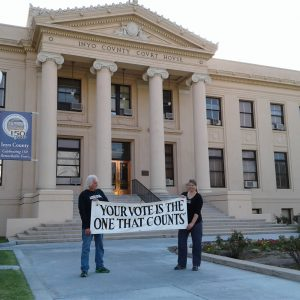 Kammi Foote and Chuck Levin at the Inyo County Courthouse Saturday morning, August 20, 2016.